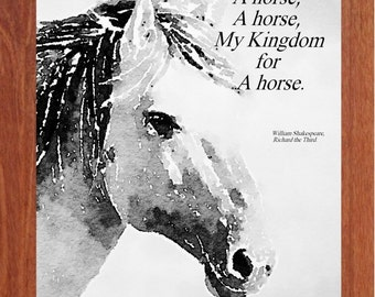 My Kingdom for a Horse, Printable Wall Art, Inspirational, Motivational, Horses, Instant Digital Download,