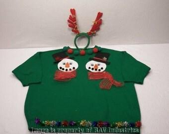 Ugly Christmas Sweater Womens L Snowman Tinsel Handmade + Reindeer Headband