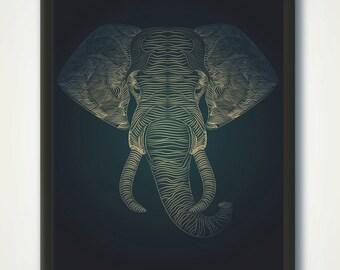Elephant Print, Printable Animal Nursery Wall Art, Elephant Decor, Animal Portrait, Line Drawing, Minimalist Elephant Line Art Printable