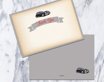 Printable-Thank You Card-Vintage-Car-Baby Shower-Gray-Grey-Red-Instant Download-Blank-Baby