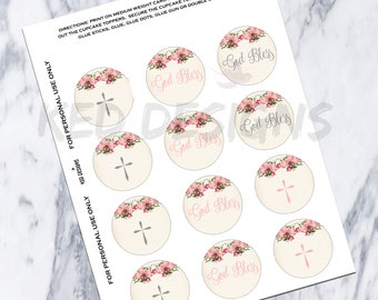 Printable-Christening-Baptism-Dedication-Cupcake Toppers-Personalize-God Bless-Digital-Vintage-Floral-Pink-Cross-Gray-Grey