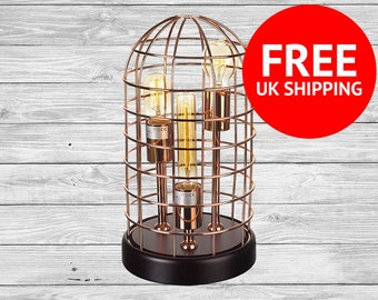 Edison Lamp, Vintage Light Up Table Top Lamp, Copper Cage, Standing Light Bulbs - Large