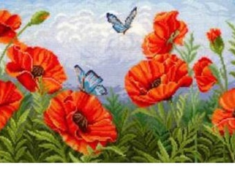 "Counted Cross Stitch Kit Make With Your Hands   - ""Poppy"""