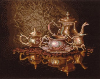 Cross Stitch Kit by Create With Your Hands   - Coffee Service - Kitchen wall Decor