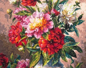 Cross Stitch Kit by Wonderful Needle - Peonies