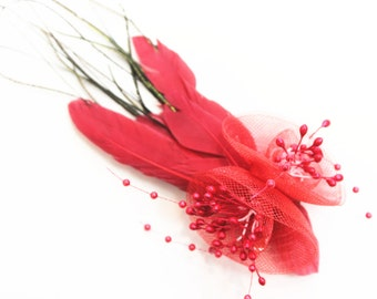 Red Tulle Flower Fascinator with Feathers, With Hair Clip and Brooch, Wedding Fascinator, Bridal Headpiece, Feather Hair Accessory