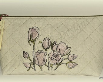 Elegant Rose Quilted Cosmetic Bag, Make-up Bag, Zipper Pouch, Toiletry Bag, Vanity Bag