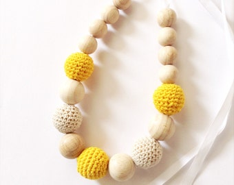 Crochet bead necklace, A perfect baby gift, Crochet nursing necklace