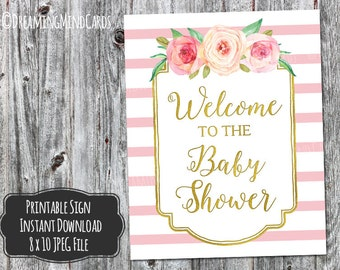 Printable Welcome to the Baby Shower Sign 8x10 Pink Watercolor Flowers Gold Pink Stripes Baby Shower Digital Download