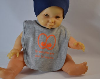 Bib baby text humor 'the eyes are bigger than your stomach'
