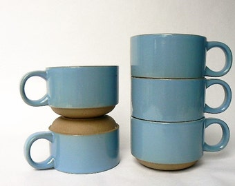 "Five Stacking Stoneware Cups - Set of 5 Tea/Coffee Cups Midwinter""Elements""Blue Stone - Simple Minimalist Denim Blue Khaki Beige Cups 2 1/2"""