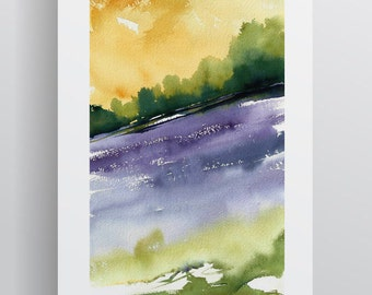 Watercolour Landscape - Yellow Green Purple - A3 - A4 size - Fine Art Print - Limited Edition - Inspired by landscape in Tuscany