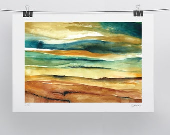 Watercolour Landscape - Yellow Green Sienna Turquoise - A3 - A4 size - Fine Art Print - Limited Edition - Inspired by landscape in Tuscany