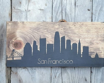 San Francisco city skyline, Handmade wood sign, Rustic wedding gift, Gift for couple, Wooden sign