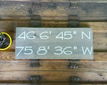 GPS wood sign, Wood signs personalized, Custom location signs, Coordinates wall art, Wedding gift for couple
