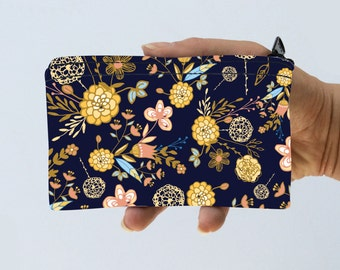 Coin Purse Flowers and Leaves Pouch - Floral Bag - Floral Nature Zipper Purse - Gadget Case Padded