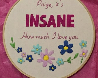 Floral Love Hand Embroidered Hoop- Customizable Name!