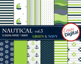 Nautical Digital Papers Green and Navy Blue 12pcs 300dpi Digital Download Sailing Collage Sheets Scrapbooking Boats Printable Paper