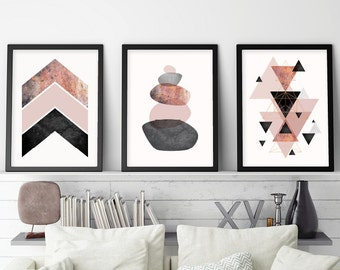 Set of 3 Prints, Blush, Art Set, Scandinavian  Modern, Scandinavian, Minimalist Poster, Chevrons, Geometric, Rose Gold, Downloadable Prints