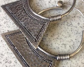 Small Kalani Hoop Earrings-  White Brass Earrings- African Tribal Jewlery- Boho Earrings- Nakila Collective