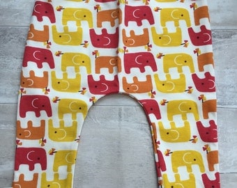 Red, orange, yellow elephants organic baby leggings by RBLeggings
