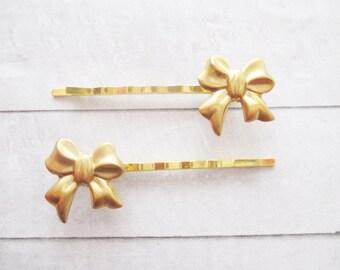 horquillas de lazo en latn dorado accesorios para el pelo mujer adorno pelo