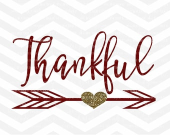 Thankful SVG File, Autumn Cut File, Blessed, Thanksgiving SVG File, Baby Girl SVG File, Cricut, Silhouette, Thanksgiving, Arrow Heart