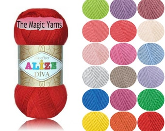 Alize Diva- silk effect, Microfiber acrylic yarn, sport weight, light weight, 4 ply, crochet dress, crochet top, crochet yarn, summer yarn