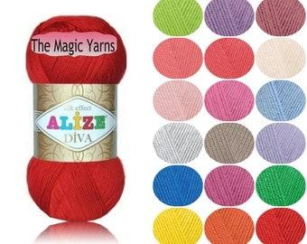 Alize Diva- silk effect, Microfiber acrylic yarn, sport weight, light weight, 4 ply, crochet dress, crochet top, crochet yarn, summer yarn