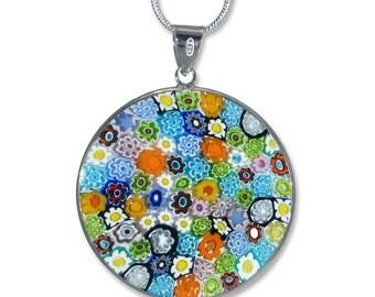 Murano Glass Millefiore Pendant - Murrina Primavera