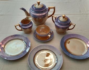 Luster Wear Japanese Tea Set, 10 pieces