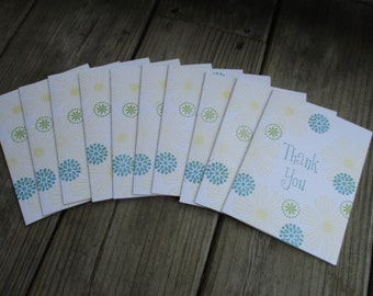 Fun Flowers thank you notes-- set of 10