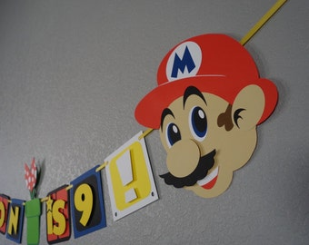 Super Mario Inspired Banner, Birthday