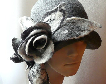 Felted Hat Cloche Hat Fapper Hat Art Hat Gray Hat Cloche Victorian 1920s Hats&Caps Accessories Wool Merino wool Grey and White Roses