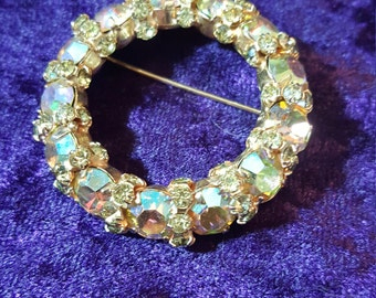 Vintage Warner Aurora Borealis Yellow Pin Brooch