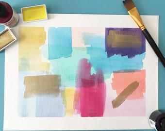 Colorful Abstract Wall Art, Original Wall Art, Colorful Watercolor Wall Art