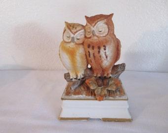 Vintage Porcelain Mother/Baby Owl Music Box