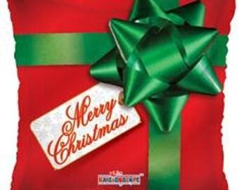 Christmas Gift Balloon,  Christmas Balloon, Balloon for the Holidays, Square Balloon, Gift Shape Balloon, Holiday Decor, Holiday Party, Gift