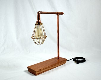 Caged Bulb Handmade Copper Pipe Lamp
