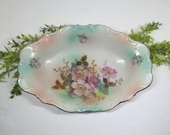 Schumann Arzberg Germany Oblong Bowl Wild Rose Patterns Gold Gilt