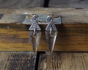Swarovski crystal earrings Raw sterling silver Oxidized Stick earrings Swarovski silver shadow