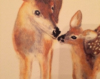 Tenderness doe and fawn note card