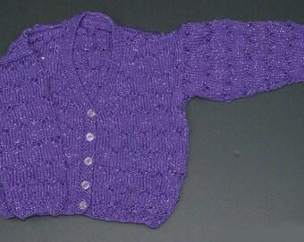 Girls Lacy Cardigan - Purple Sparkle