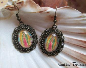 Lady of Guadalupe glass cabochons brass earrings, Lady of Guadalupe earrings, Vintage earrings, Gothic earrings, Steampunk earrings