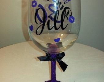 Dirty 30 Birthday Glittered Wine Glass