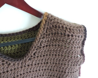 Pull coarse-mesh v-neck 100% wool sleeveless green and Brown