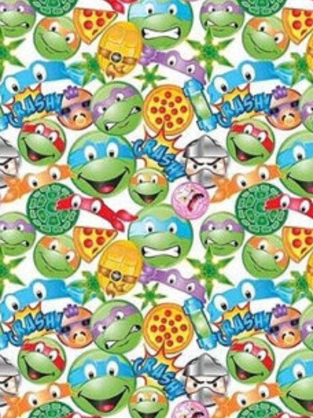 Ninja turtles emoji fabric tnmt fabric comic fabric for Emoji material by the yard