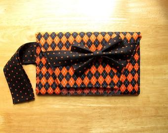 Halloween Clutch Wristlet - Argyle with Black and Orange Polka Dots