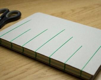 Green Thread Detail Coptic Bound Board Notebook Hardback Yellow A5 Journal