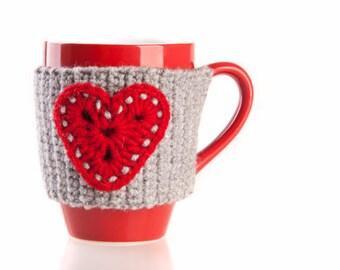 Christmas Crochet Mug Cozy, Christmas gift, Mug warmer, mug holder, cup sleeve, tea cup cozy, coffee mug holder, holidays, hearts
